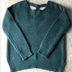 Cozy sweater! Teal/grey with open back